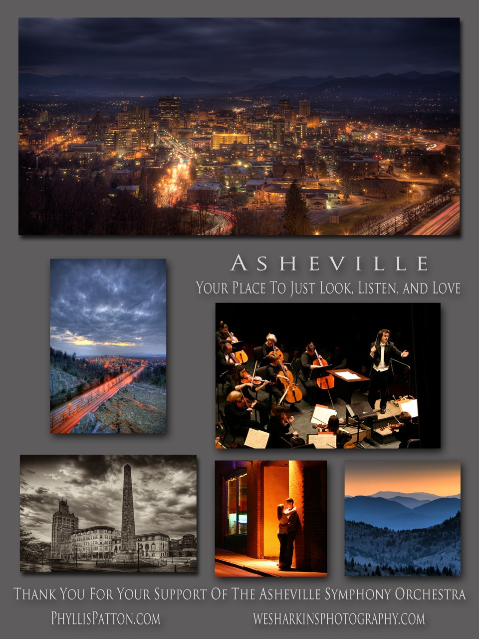 Phyllis Patton and Wes Harkins Photography sponsor the Asheville Symphony Orchestra